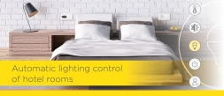 Automatic lighting control of hotel rooms
