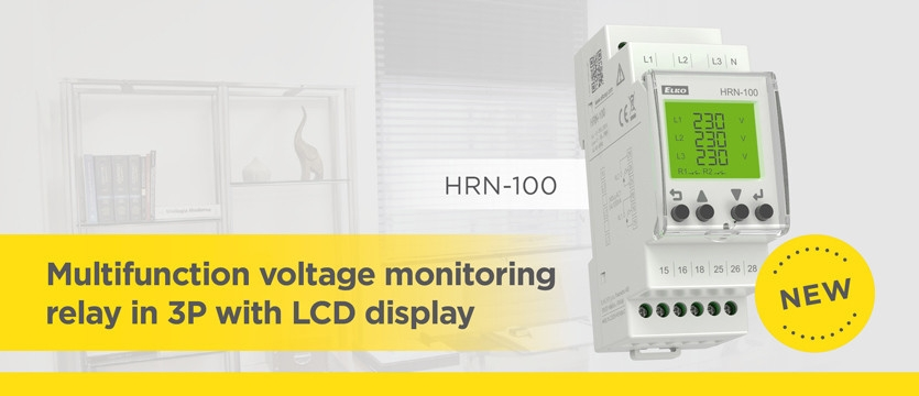Multifunction voltage monitoring relay in 3P with LCD display
